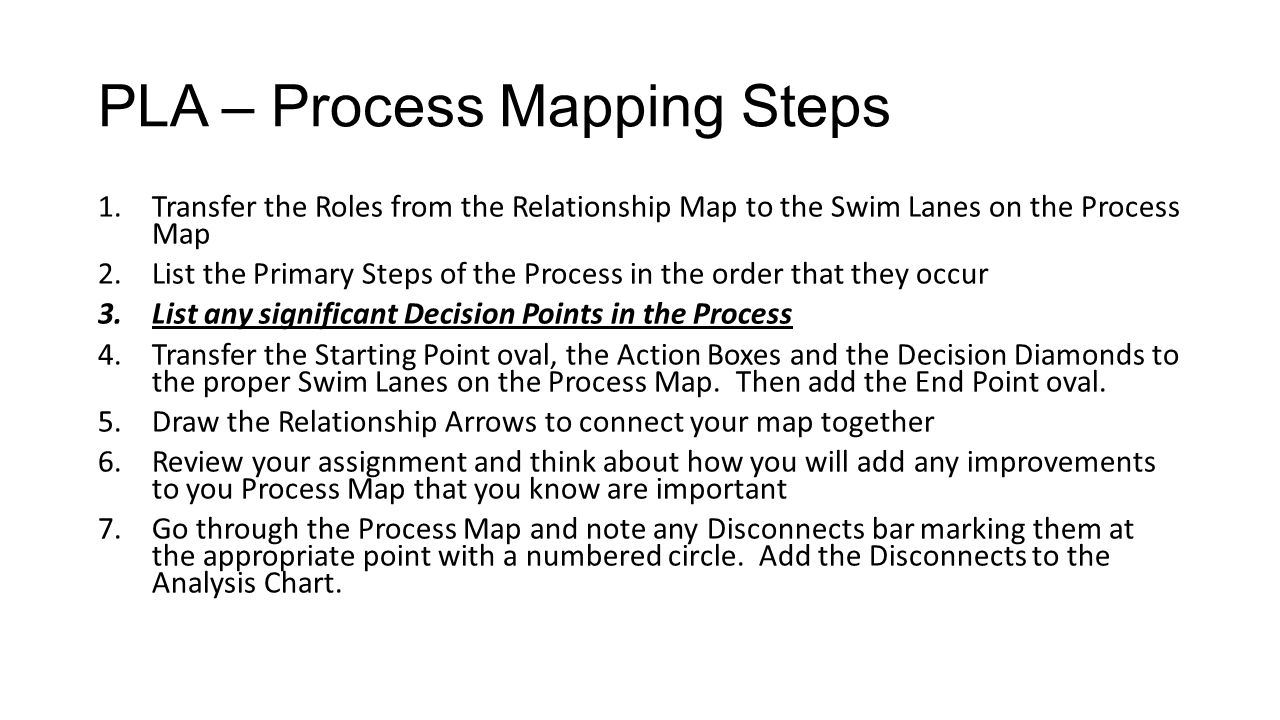 PLA – Process Mapping Steps 1.Transfer the Roles from the Relationship Map to the Swim Lanes on the Process Map 2.List the Primary Steps of the Proces