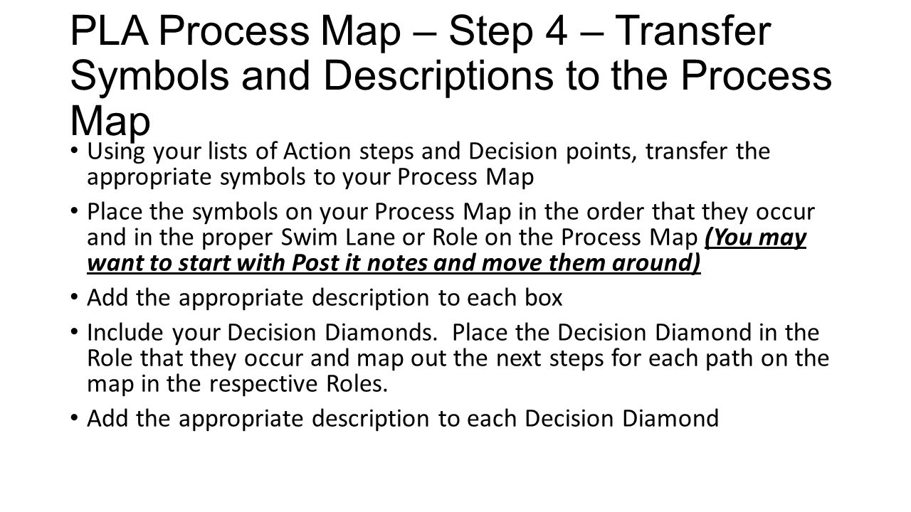 PLA Process Map – Step 4 – Transfer Symbols and Descriptions to the Process Map Using your lists of Action steps and Decision points, transfer the app