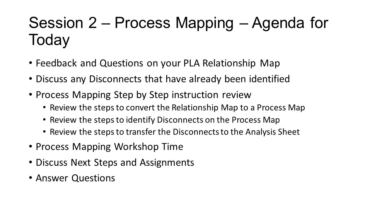 Session 2 – Process Mapping – Agenda for Today Feedback and Questions on your PLA Relationship Map Discuss any Disconnects that have already been iden