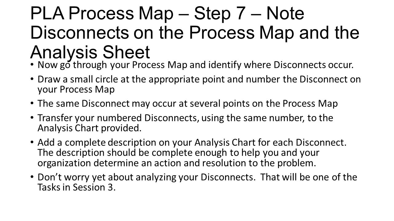 PLA Process Map – Step 7 – Note Disconnects on the Process Map and the Analysis Sheet Now go through your Process Map and identify where Disconnects o