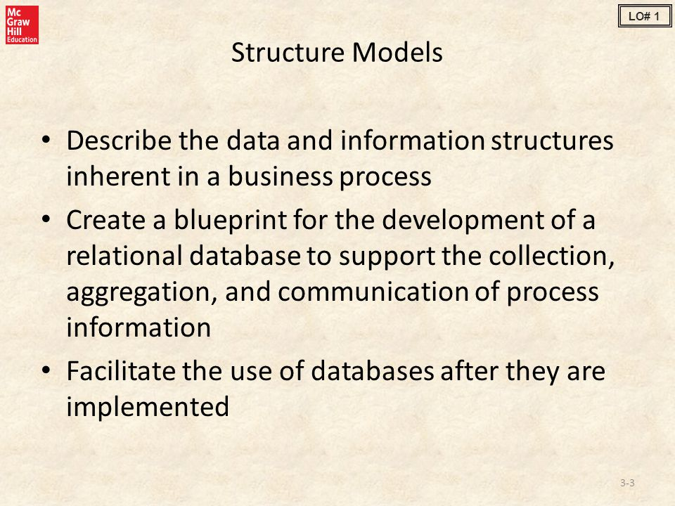 Structure Models Describe the data and information structures inherent in a business process Create a blueprint for the development of a relational database to support the collection, aggregation, and communication of process information Facilitate the use of databases after they are implemented 3-3 LO# 1