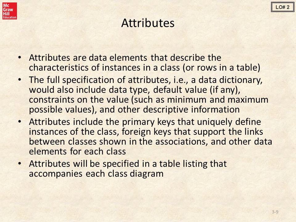 Attributes Attributes are data elements that describe the characteristics of instances in a class (or rows in a table) The full specification of attributes, i.e., a data dictionary, would also include data type, default value (if any), constraints on the value (such as minimum and maximum possible values), and other descriptive information Attributes include the primary keys that uniquely define instances of the class, foreign keys that support the links between classes shown in the associations, and other data elements for each class Attributes will be specified in a table listing that accompanies each class diagram 3-9 LO# 2