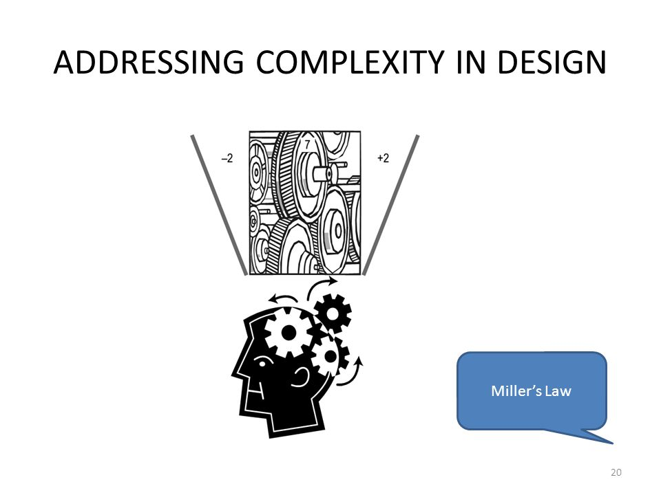 ADDRESSING COMPLEXITY IN DESIGN 20 Miller's Law