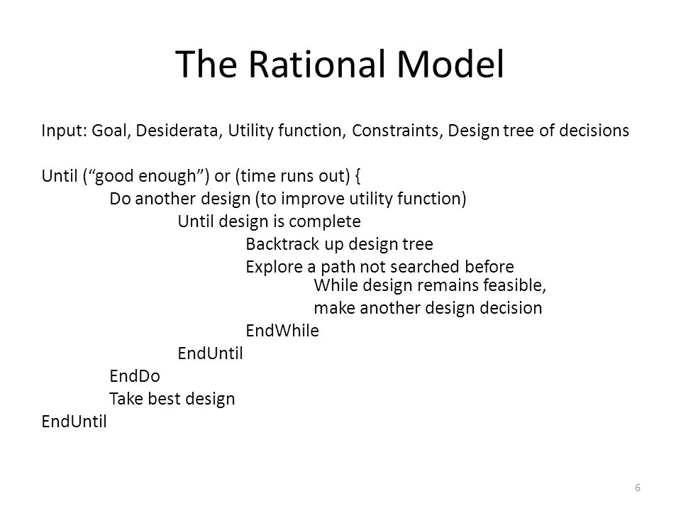 The Rational Model 6 Input: Goal, Desiderata, Utility function, Constraints, Design tree of decisions Until ( good enough ) or (time runs out) { Do another design (to improve utility function) Until design is complete Backtrack up design tree Explore a path not searched before While design remains feasible, make another design decision EndWhile EndUntil EndDo Take best design EndUntil