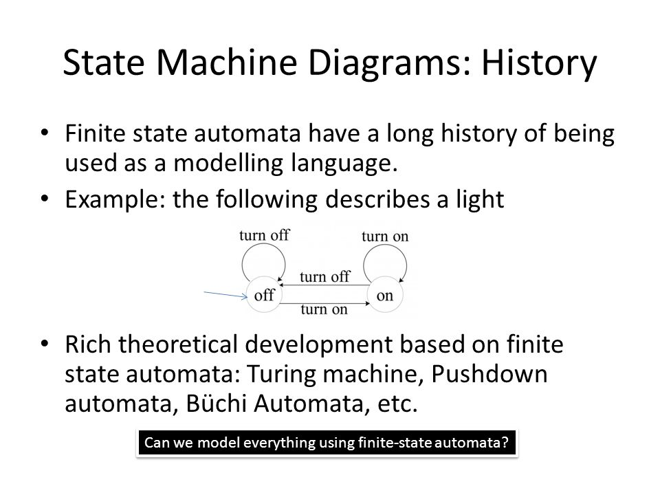 State Machine Diagrams: History Finite state automata have a long history of being used as a modelling language.