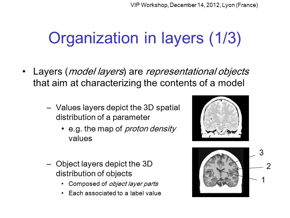 Organization in layers (1/3) Layers (model layers) are representational objects that aim at characterizing the contents of a model VIP Workshop, December 14, 2012, Lyon (France) –Values layers depict the 3D spatial distribution of a parameter e.g.
