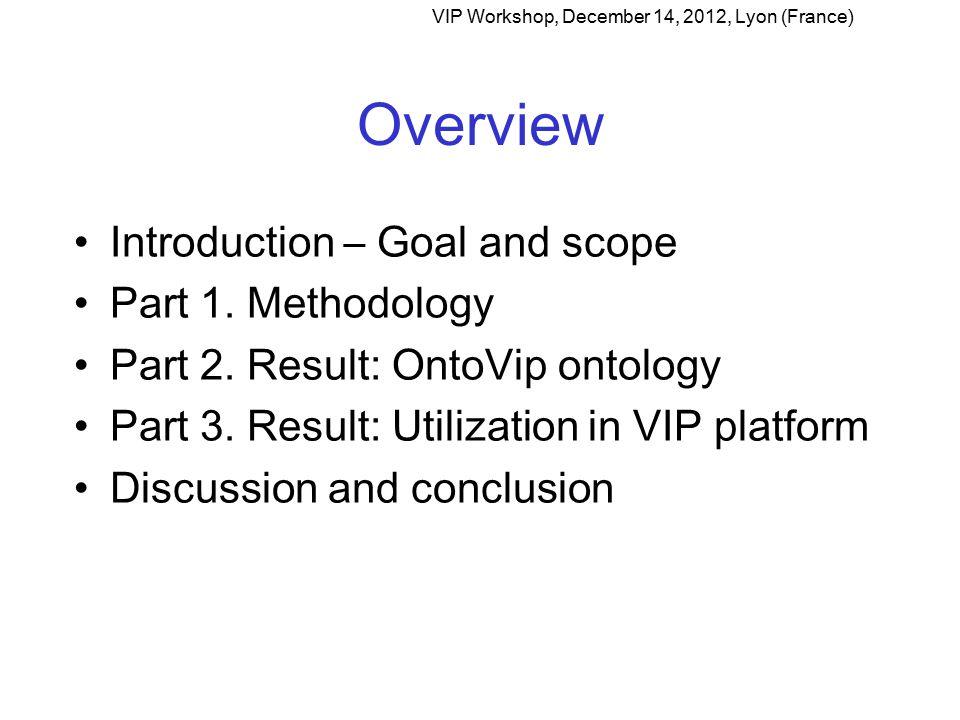 Introduction Goal and scope VIP Workshop, December 14, 2012, Lyon (France)