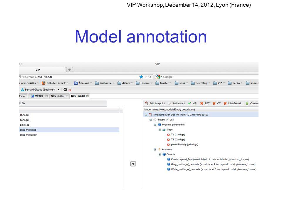 Model annotation VIP Workshop, December 14, 2012, Lyon (France)