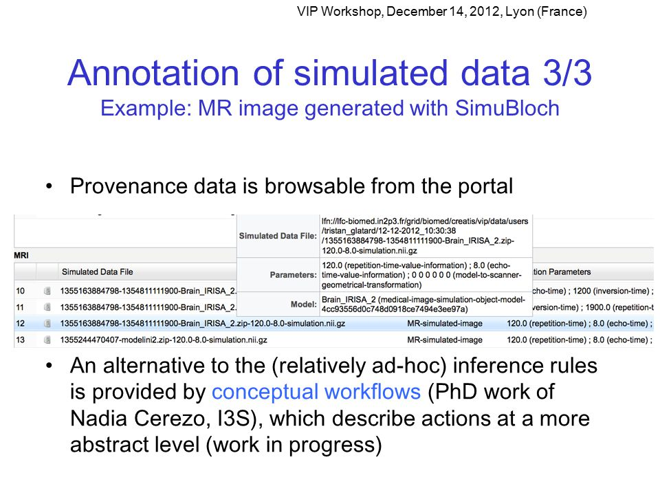 Annotation of simulated data 3/3 Example: MR image generated with SimuBloch VIP Workshop, December 14, 2012, Lyon (France) Provenance data is browsable from the portal An alternative to the (relatively ad-hoc) inference rules is provided by conceptual workflows (PhD work of Nadia Cerezo, I3S), which describe actions at a more abstract level (work in progress)