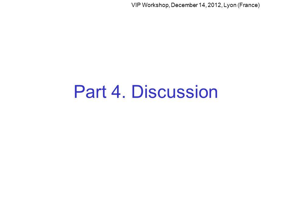 Part 4. Discussion VIP Workshop, December 14, 2012, Lyon (France)