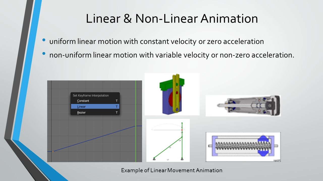 Linear & Non-Linear Animation uniform linear motion with constant velocity or zero acceleration non-uniform linear motion with variable velocity or non-zero acceleration.