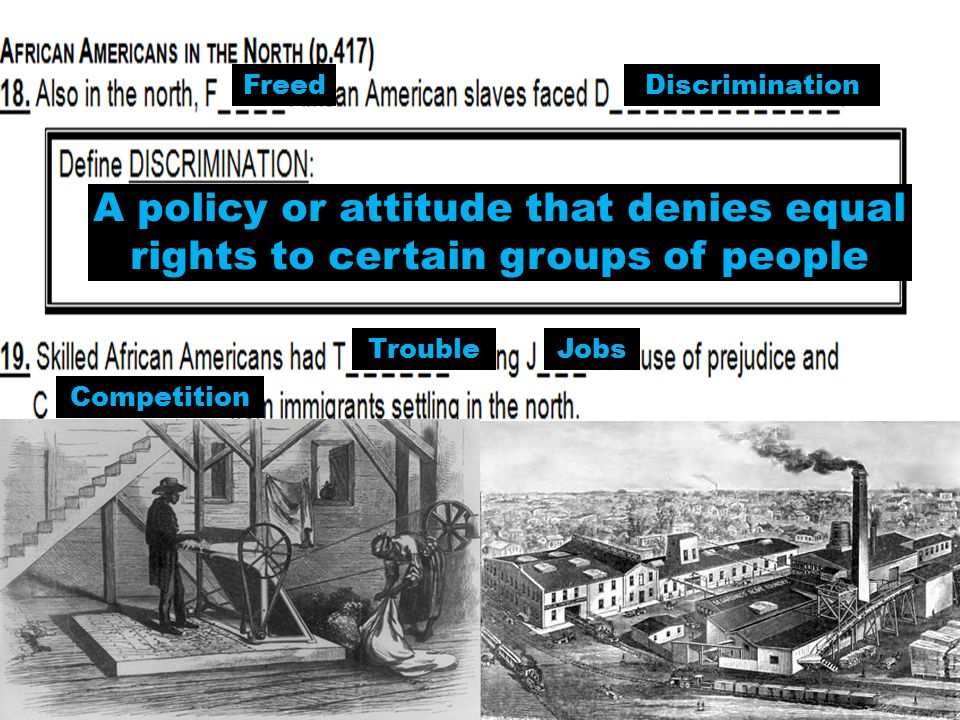 FreedDiscrimination TroubleJobs Competition A policy or attitude that denies equal rights to certain groups of people