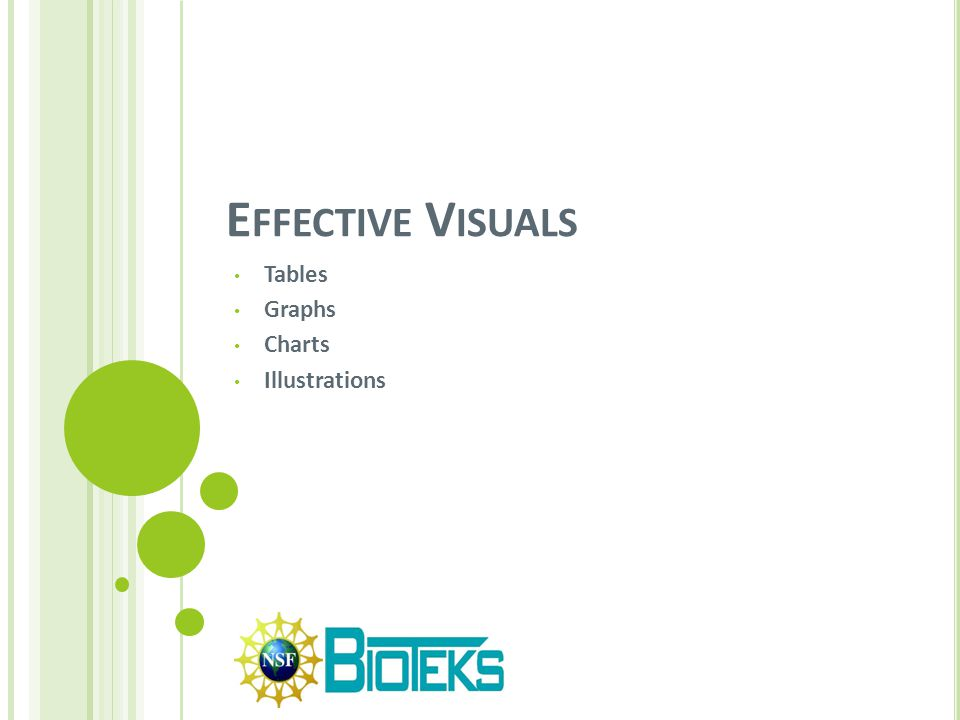 E FFECTIVE V ISUALS Effective visuals should be simple, clear and easy to understand.