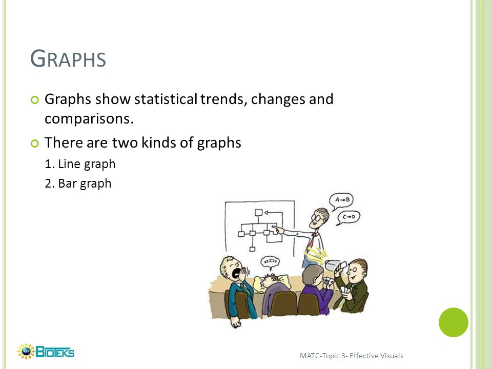 G RAPHS Graphs show statistical trends, changes and comparisons.