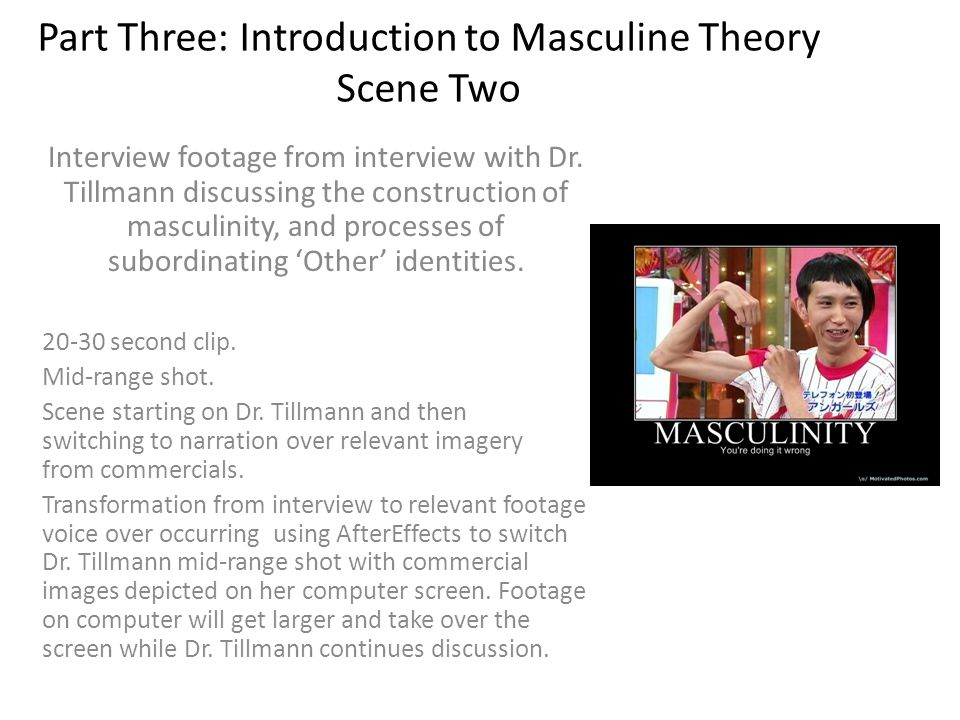 Part Three: Introduction to Masculine Theory Scene Two Interview footage from interview with Dr.