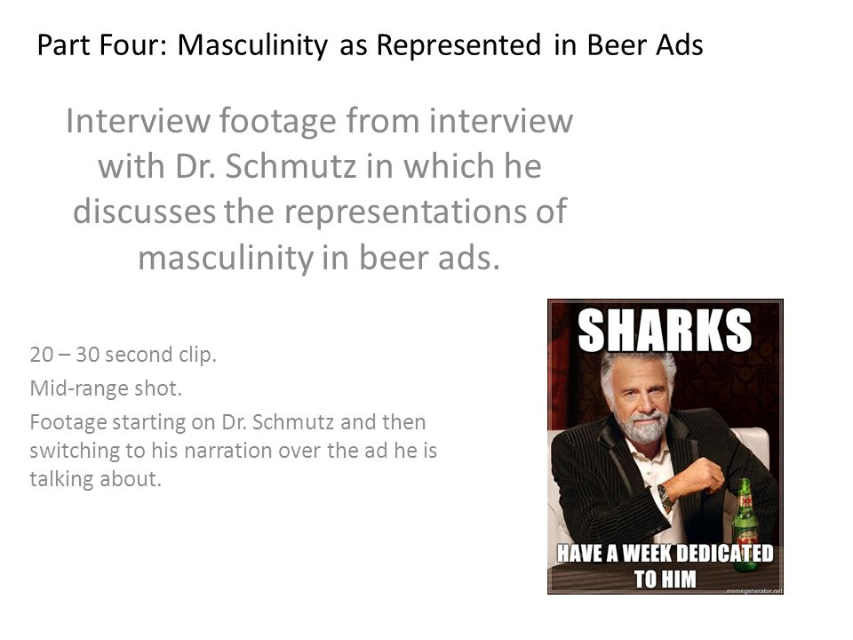 Part Four: Masculinity as Represented in Beer Ads Interview footage from interview with Dr.