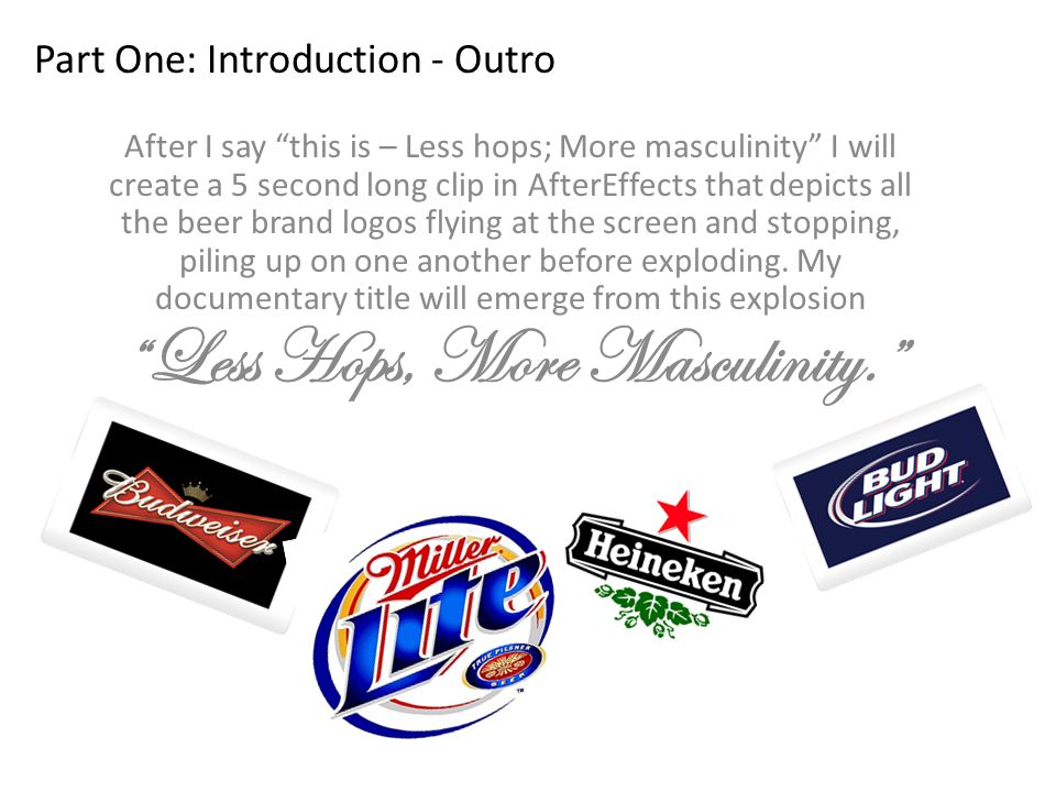 Part One: Introduction - Outro After I say this is – Less hops; More masculinity I will create a 5 second long clip in AfterEffects that depicts all the beer brand logos flying at the screen and stopping, piling up on one another before exploding.