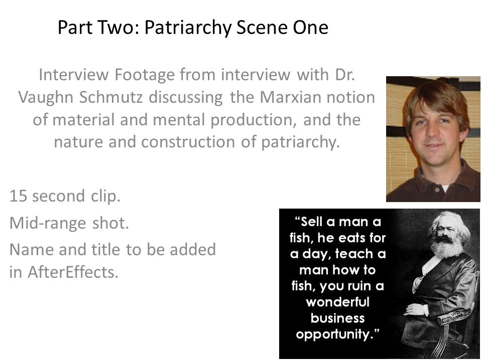 Part Two: Patriarchy Scene One Interview Footage from interview with Dr.