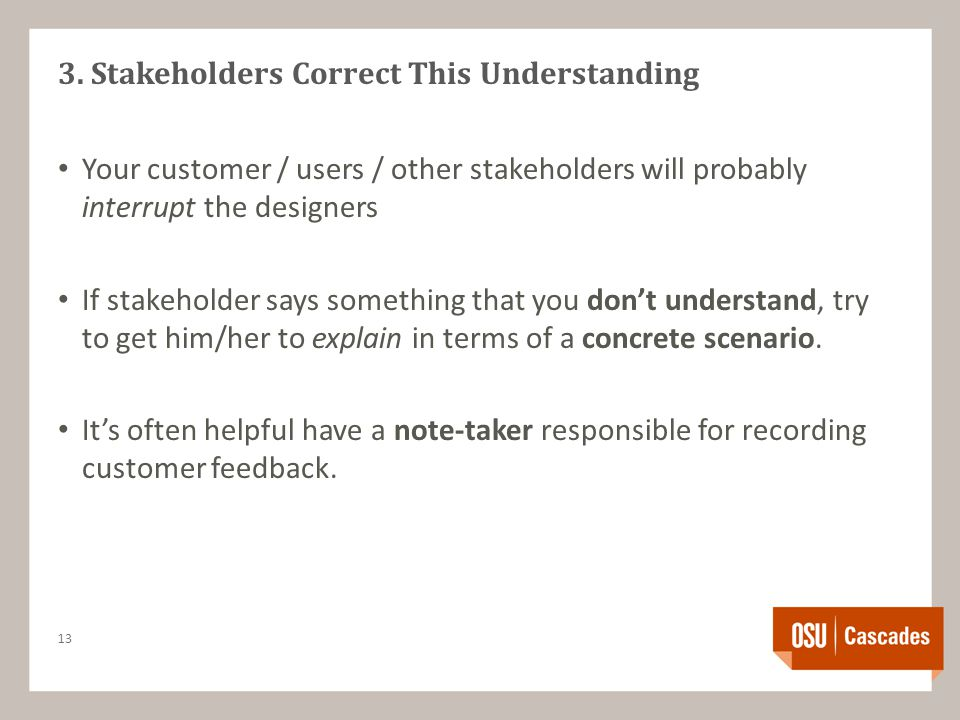 3. Stakeholders Correct This Understanding Your customer / users / other stakeholders will probably interrupt the designers If stakeholder says someth