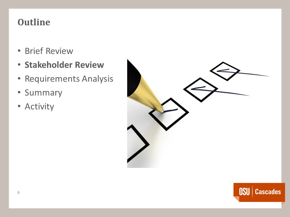 Outline Brief Review Stakeholder Review Requirements Analysis Summary Activity 6