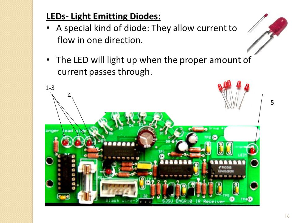 16 LEDs- Light Emitting Diodes: A special kind of diode: They allow current to flow in one direction.