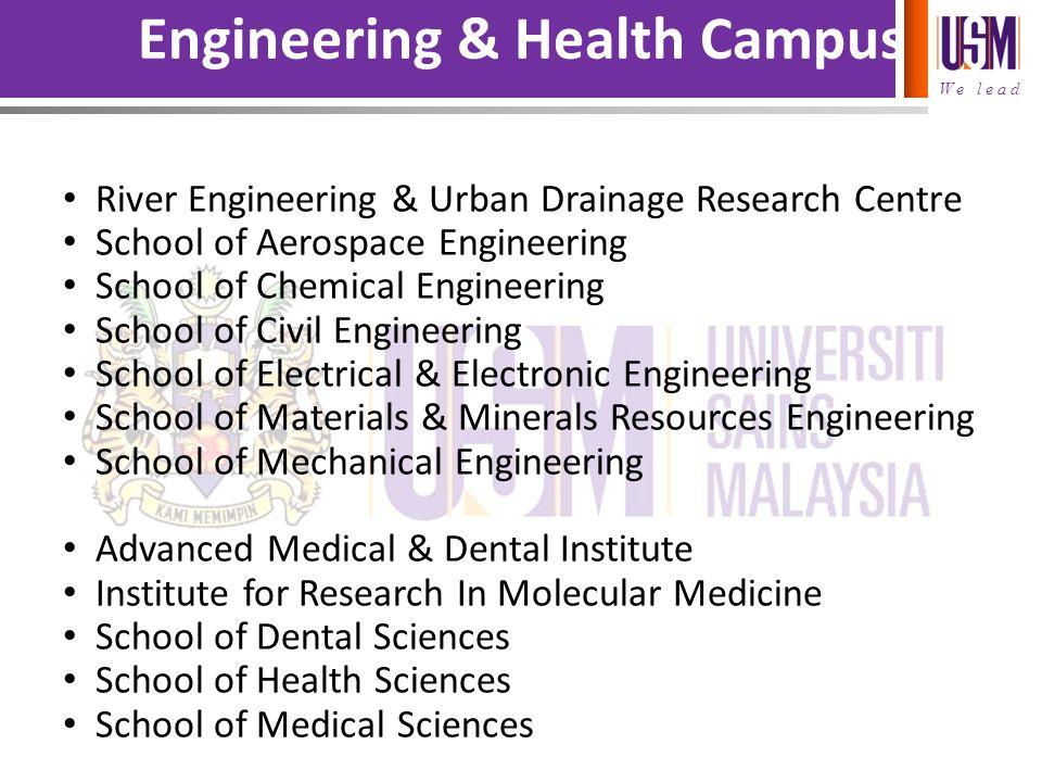 We lead Engineering & Health Campus River Engineering & Urban Drainage Research Centre School of Aerospace Engineering School of Chemical Engineering