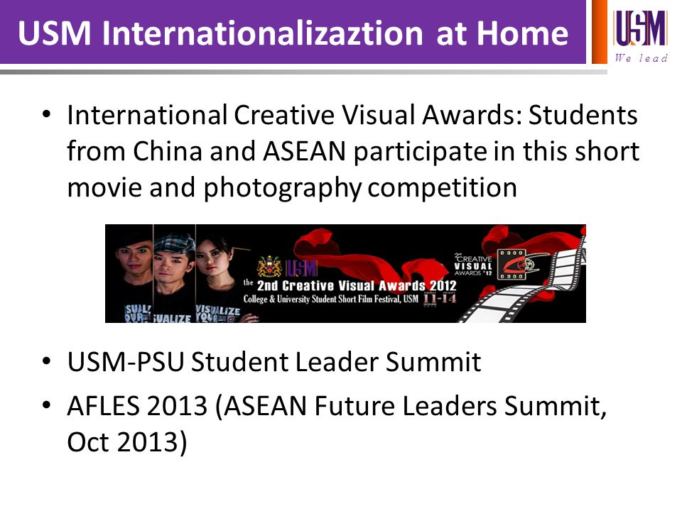 We lead USM Internationalizaztion at Home International Creative Visual Awards: Students from China and ASEAN participate in this short movie and phot