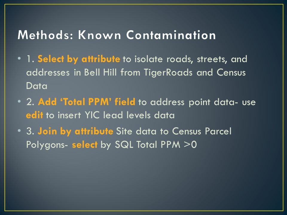 1. Select by attribute to isolate roads, streets, and addresses in Bell Hill from TigerRoads and Census Data 2. Add 'Total PPM' field to address point
