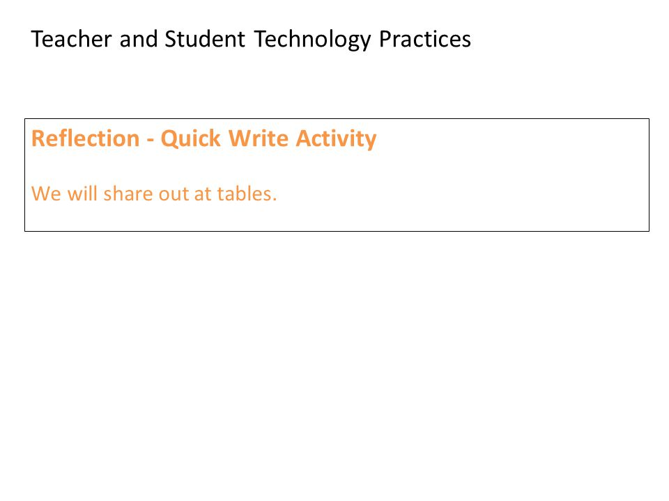 Teacher and Student Technology Practices Reflection - Quick Write Activity We will share out at tables.