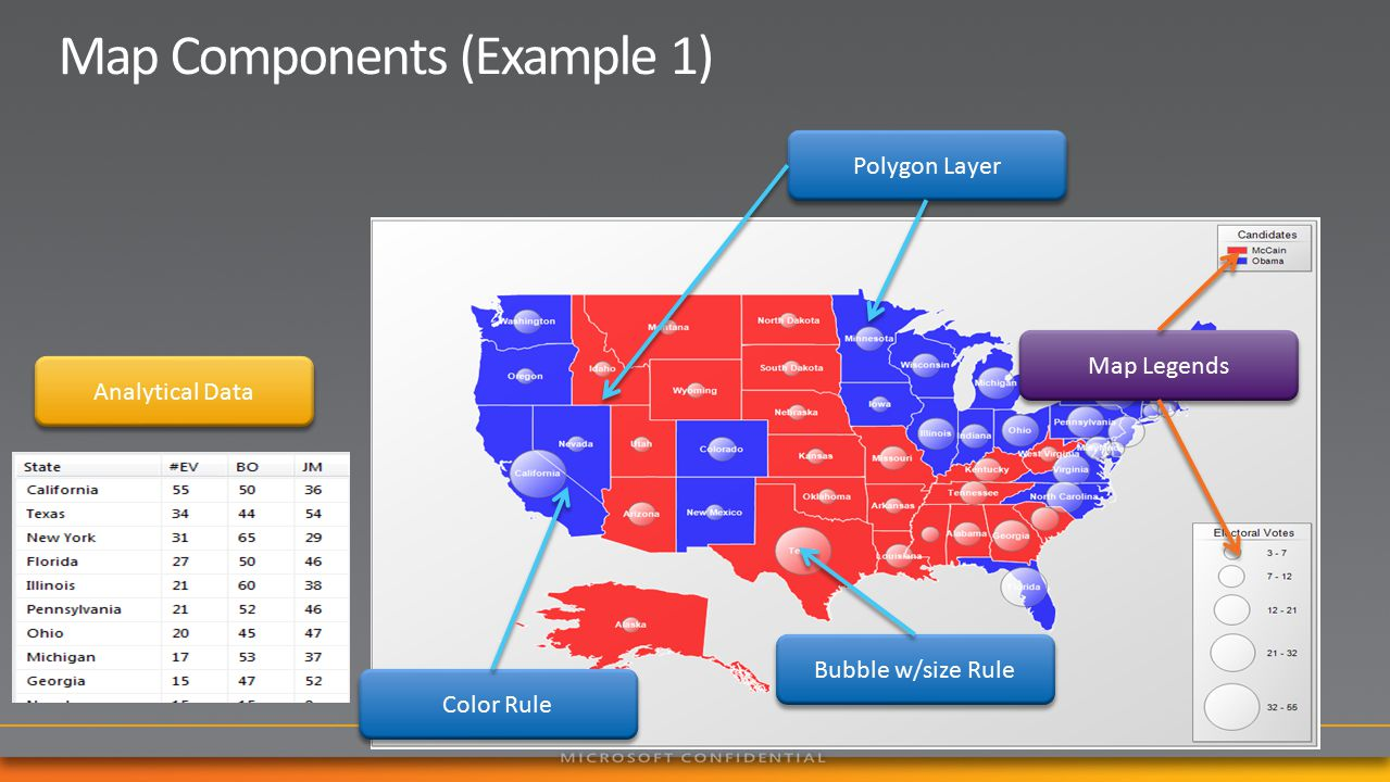 Polygon Layer Color Rule Bubble w/size Rule Map Legends Analytical Data