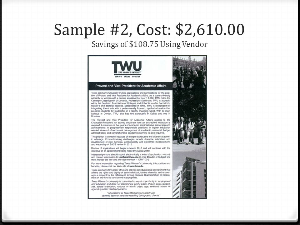 Sample #2, Cost: $2,610.00 Savings of $108.75 Using Vendor