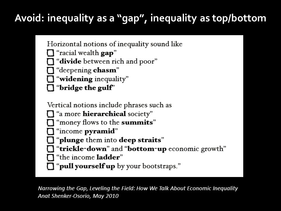 "Narrowing the Gap, Leveling the Field: How We Talk About Economic Inequality Anat Shenker-Osorio, May 2010 Avoid: inequality as a ""gap"", inequality as"
