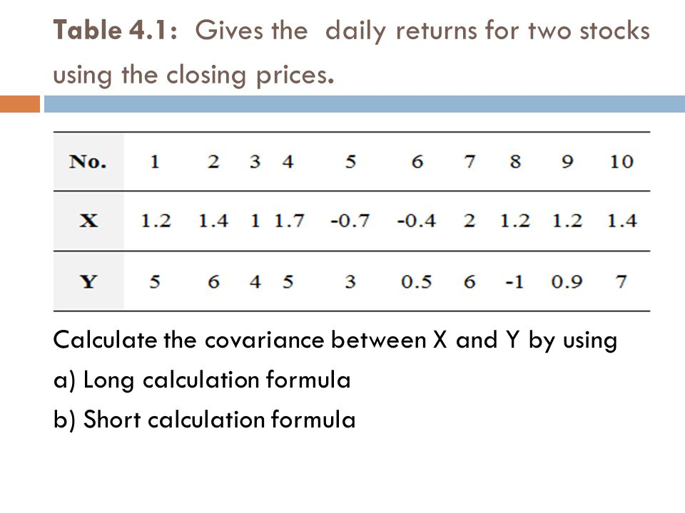 Table 4.1: Gives the daily returns for two stocks using the closing prices. Calculate the covariance between X and Y by using a) Long calculation form