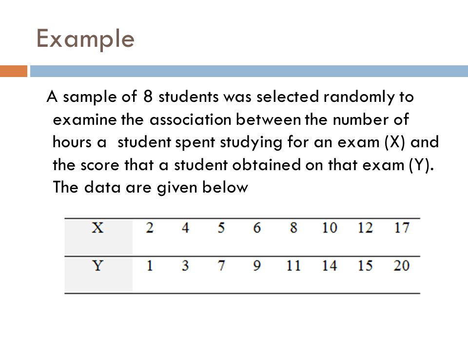 Example A sample of 8 students was selected randomly to examine the association between the number of hours a student spent studying for an exam (X) a