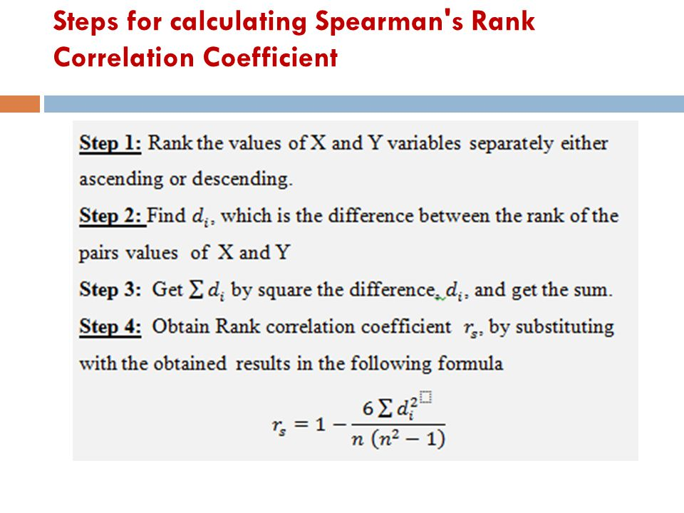 Steps for calculating Spearman's Rank Correlation Coefficient
