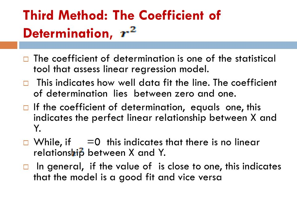 Third Method: The Coefficient of Determination,  The coefficient of determination is one of the statistical tool that assess linear regression model.