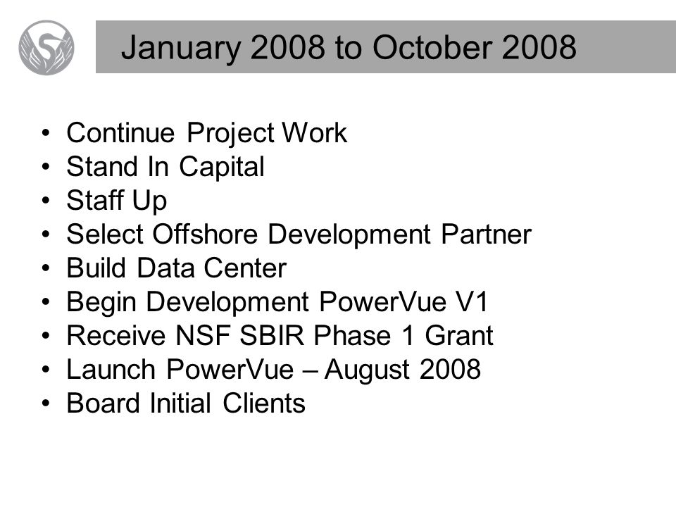January 2008 to October 2008 Continue Project Work Stand In Capital Staff Up Select Offshore Development Partner Build Data Center Begin Development PowerVue V1 Receive NSF SBIR Phase 1 Grant Launch PowerVue – August 2008 Board Initial Clients