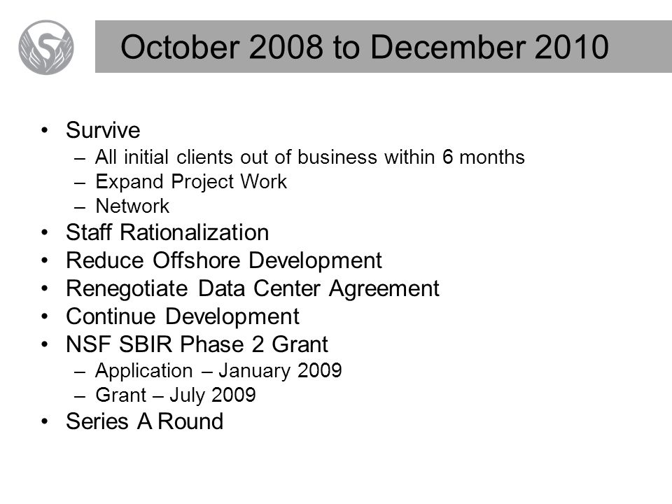 October 2008 to December 2010 Survive –All initial clients out of business within 6 months –Expand Project Work –Network Staff Rationalization Reduce Offshore Development Renegotiate Data Center Agreement Continue Development NSF SBIR Phase 2 Grant –Application – January 2009 –Grant – July 2009 Series A Round