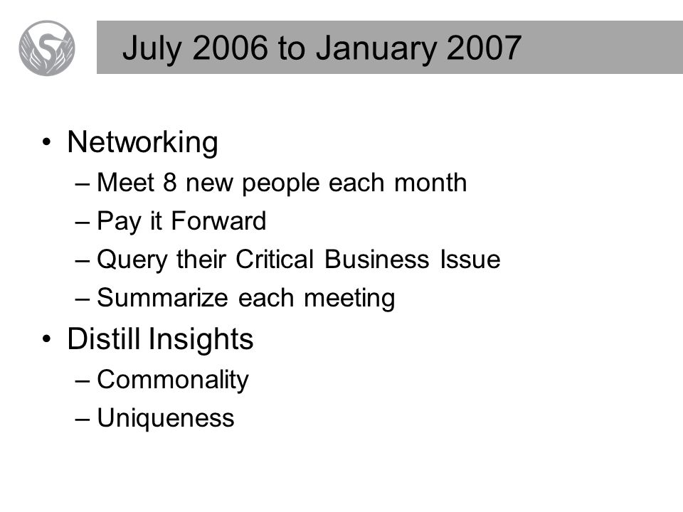 July 2006 to January 2007 Networking –Meet 8 new people each month –Pay it Forward –Query their Critical Business Issue –Summarize each meeting Distill Insights –Commonality –Uniqueness