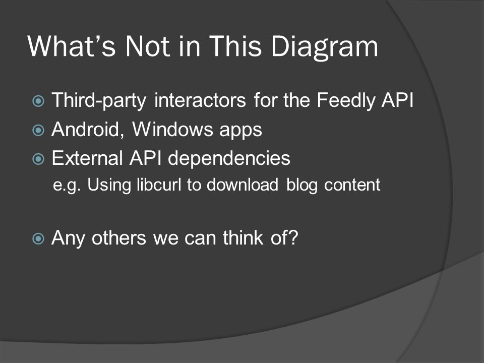 What's Not in This Diagram  Third-party interactors for the Feedly API  Android, Windows apps  External API dependencies e.g.