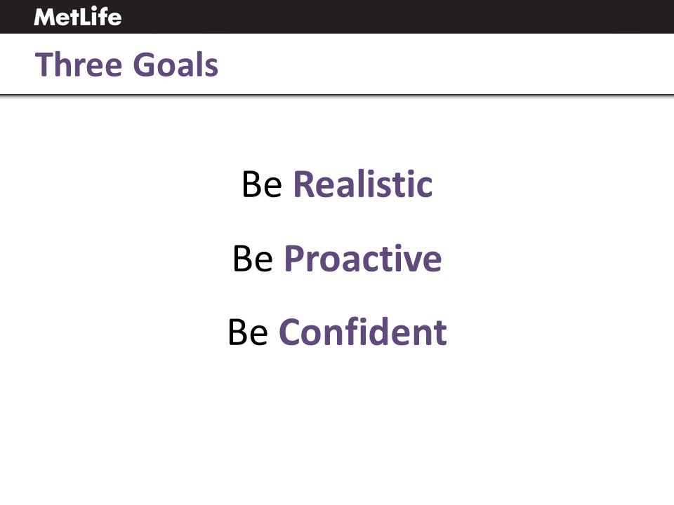 Be Realistic Be Proactive Be Confident Three Goals