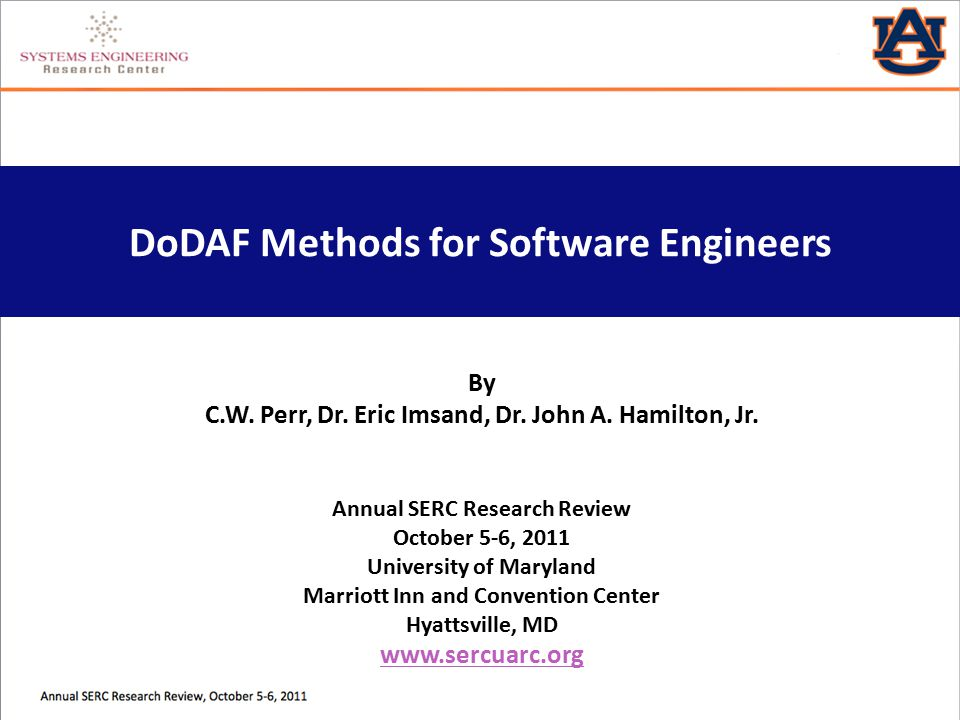 DoDAF Methods for Software Engineers By C.W. Perr, Dr.