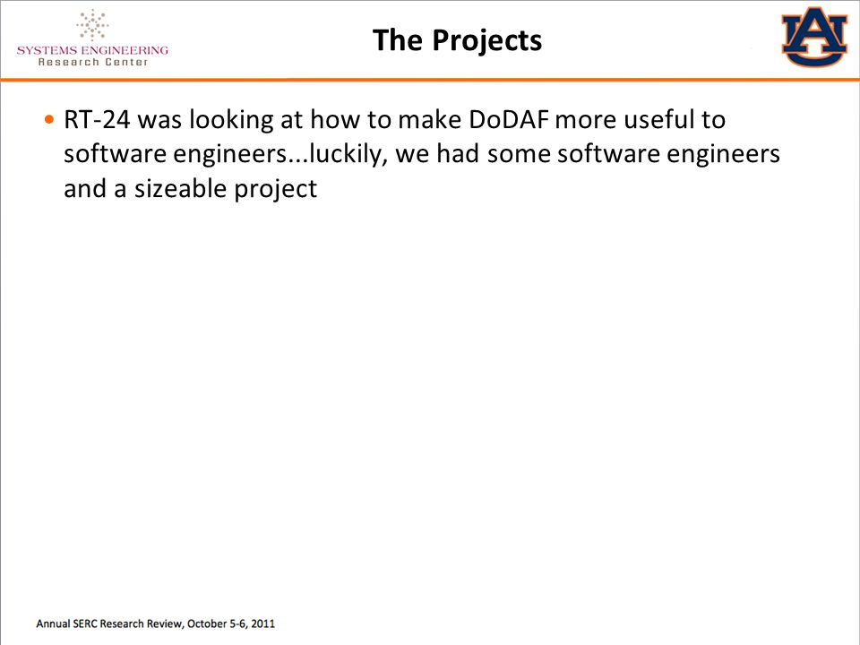 The Projects RT-24 was looking at how to make DoDAF more useful to software engineers...luckily, we had some software engineers and a sizeable project