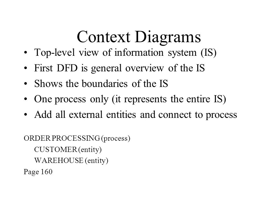 Top-level view of information system (IS) First DFD is general overview of the IS Shows the boundaries of the IS One process only (it represents the entire IS) Add all external entities and connect to process ORDER PROCESSING (process) CUSTOMER (entity) WAREHOUSE (entity) Page 160