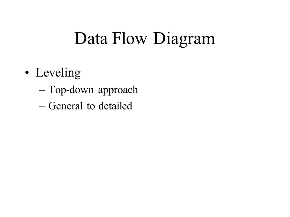 Leveling –Top-down approach –General to detailed