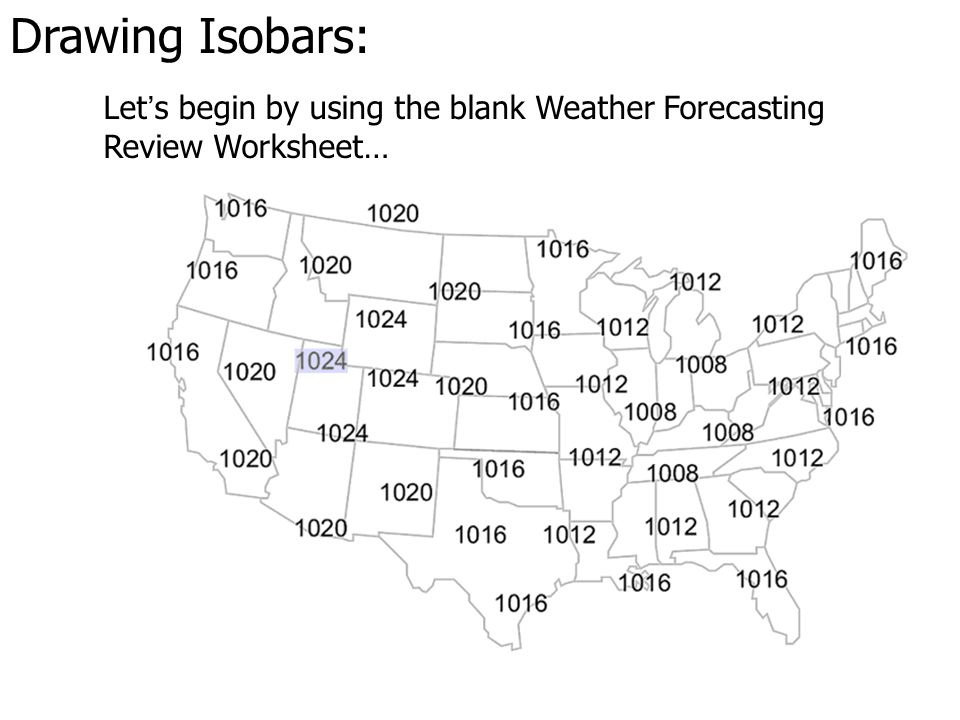 Drawing Isobars: In a low pressure system, winds revolve around it in a counter-clockwise direction… B H L