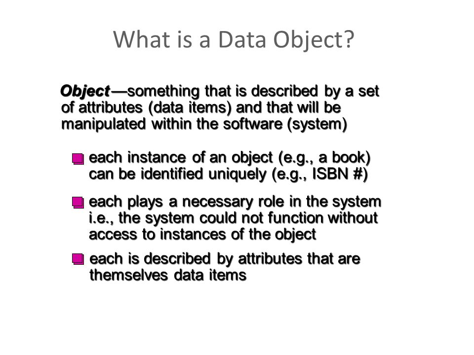 What is a Data Object? Object —something that is described by a set of attributes (data items) and that will be manipulated within the software (syste