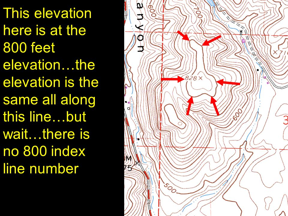 19 This elevation here is at the 800 feet elevation…the elevation is the same all along this line…but wait…there is no 800 index line number