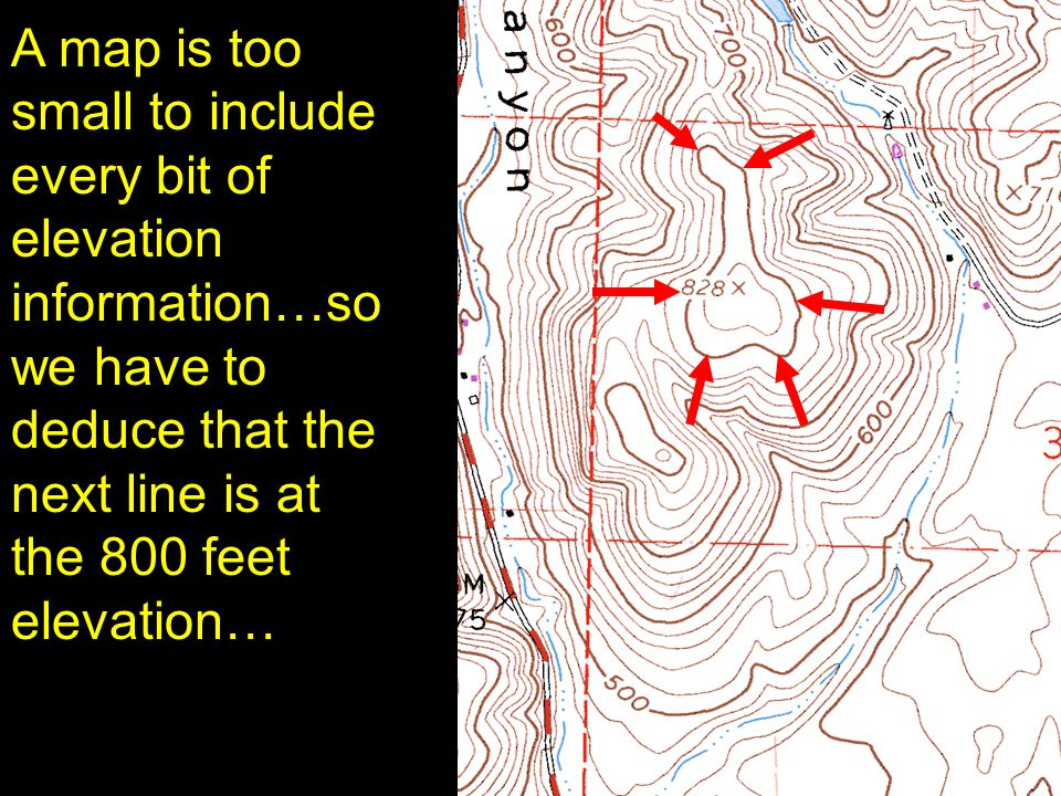 20 A map is too small to include every bit of elevation information…so we have to deduce that the next line is at the 800 feet elevation…