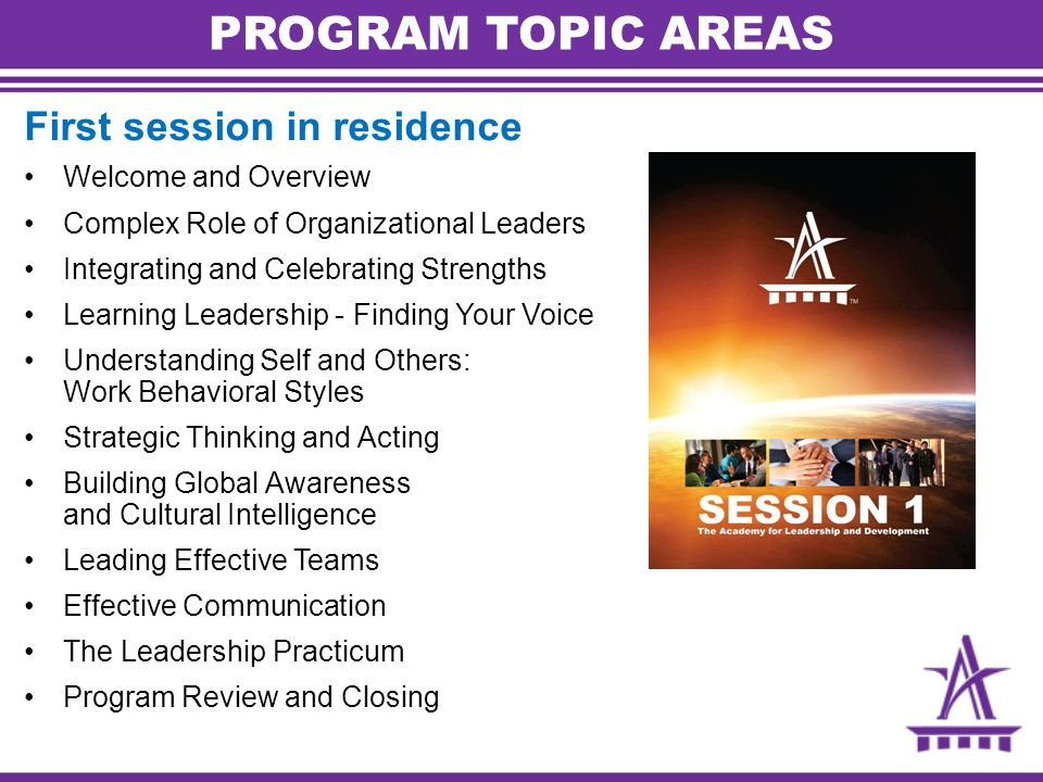 PROGRAM TOPIC AREAS First session in residence Welcome and Overview Complex Role of Organizational Leaders Integrating and Celebrating Strengths Learning Leadership - Finding Your Voice Understanding Self and Others: Work Behavioral Styles Strategic Thinking and Acting Building Global Awareness and Cultural Intelligence Leading Effective Teams Effective Communication The Leadership Practicum Program Review and Closing